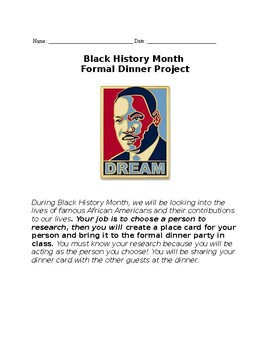 Black History Month Research Project - Formal Dinner