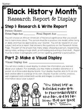 Black History Month Research Report w/ Optional Visual Display: