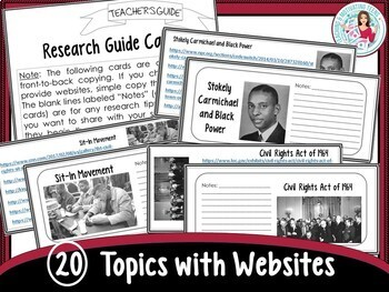 Civil Rights Research with Text Features Infographic Design Cross-Curricular