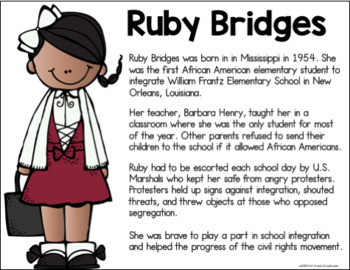 Black History Month Ruby Bridges By First Grade