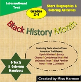 Black History Month Short Biographies and Coloring Printables