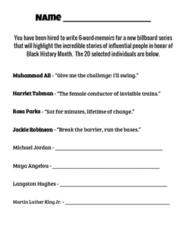 Black History Month Six Word Memoir Writing