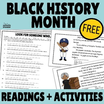 Black History Month Spanish Readings and Activities FREEBIE