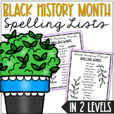 SPELLING LIST: Black History Month Activities | Word Work | In TWO Levels