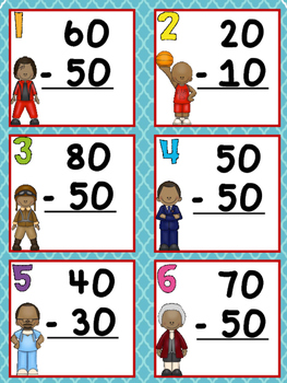Black History Month Subtracting Tens Task Cards