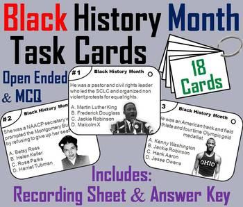 Black History Month Task Cards: Martin Luther King, Rosa Parks, Jesse Owens etc.