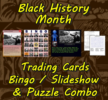 Black History Month Trading Cards, Bingo/Slideshow and Puzzle Combo