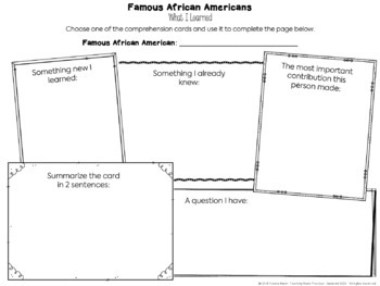 Black History Month Activities - Trading Cards and Reading Comprehension