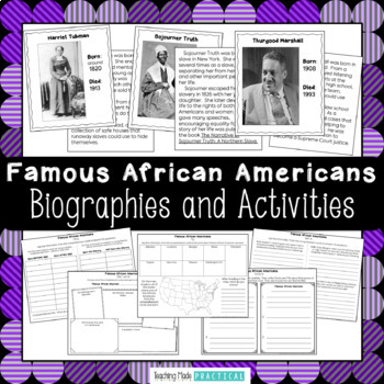 Black History Month Activities - Short Biographies for 15 African Americans