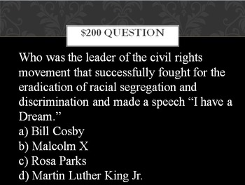 Black History Month Trivia Game Fun!