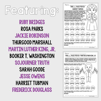 Black History Month Trivia Multiplication Review