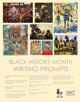 Black History Month - Using Famous Art to Write - African American Art -FREE