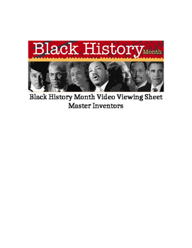 Black History Month Video Viewing Sheet - Masters of Invention