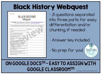 Black History Month Webquest - Paper Copy & Google Doc Versions Included