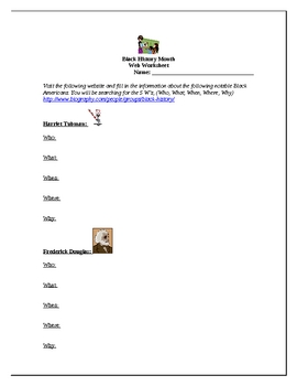 Black History Month Web Worksheet