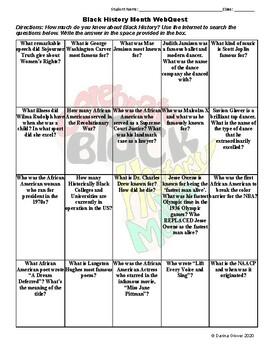 Black History Month WebQuest by Darina Glover   Teachers ...