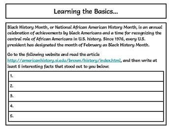 Black History Month Webquest - Using Google Slides - NO PREP