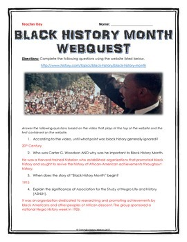 Black History Month - Webquest with Key (History.com) by ...