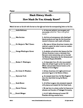 Black History Month - What Do You Know Worksheet by Claudette Upshur