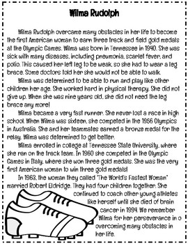 Black History Month: Wilma Rudolph Reading Comprehension Passage and Questions
