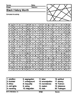 Black History Month Word Search and Word Scramble Printable Worksheets