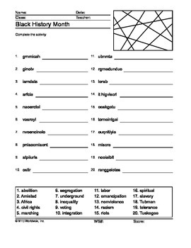 photograph relating to Black History Crossword Puzzle Printable referred to as Black Historical past Thirty day period Term Seem and Term Scramble Printable Worksheets