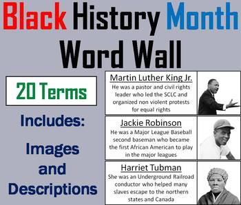 Black History Month Word Wall Cards