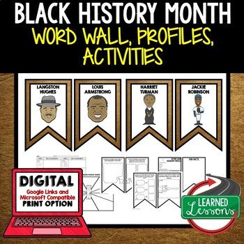 Black History Month Word Wall Black History Activity Digital Google Print