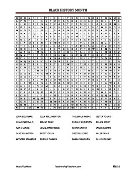 Black History Month Wordfind Famous Musicians and Composers