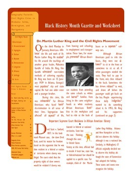 A Black History Month Worksheet and Gazette with answer key