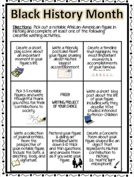 Black History Month Writing Choice Board