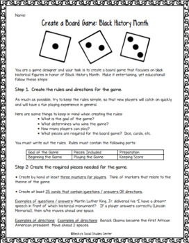 Black History Month for Middle School - Create a Board Game Project