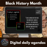 Black History Month themed daily agenda slides for Google