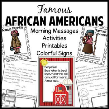 Black History Morning Work Activities Signs