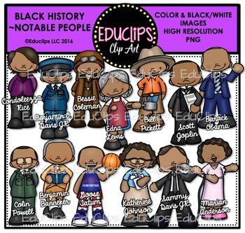 Black History ~ Notable People Clip Art Bundle {Educlips Clipart}