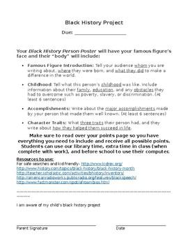 Black History Project- w/ score sheet & topic list