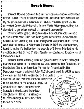 Black History & President's Day: Barack Obama Reading Comprehension Passage