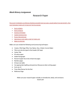 Black History Research Paper