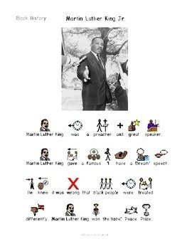 Black History - Symbol Supported Picture Reading Comprehension for Special Ed