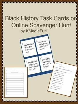 Black History Task Cards or Online Scavenger Hunt by KMediaFun