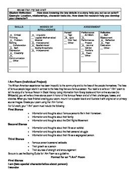 Black History Thematic Poem Unit Common Core Lesson Plans 12 pgs.