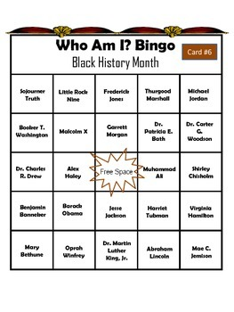 Black History Who Am I? Bingo