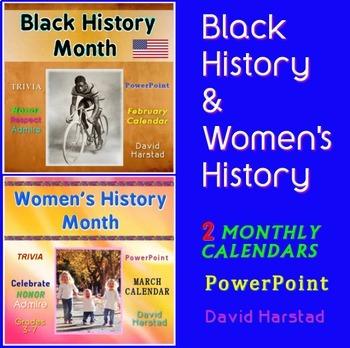 Black History & Women's History Months - Trivia Calendar Bundle (PowerPoint)