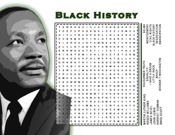 Black History Month Word Search Puzzle | Civil Rights | Martin Luther King, Jr.