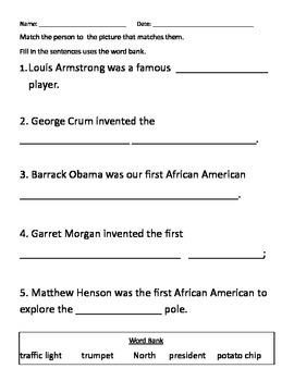 Black History Worksheets--Set 2