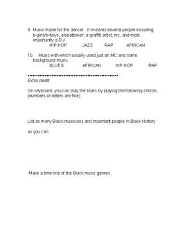 Black History in Music Modified Test