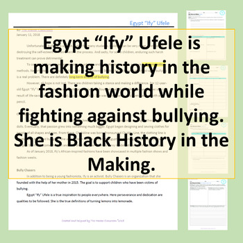 "Black History in the Making - Egypt ""Ify"" Ufele"