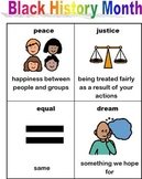 Black History Month vocabulary and cut and paste; special