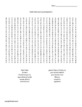 Black Holes and Curved Space Time Vocabulary Word Search for Astronomy Students