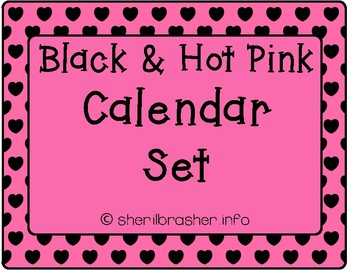 Black & Hot Pink Calendar Set